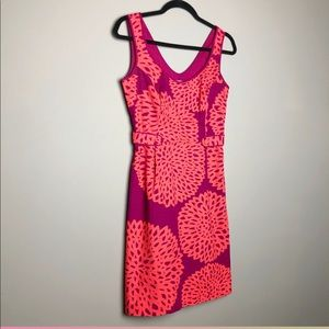 Boden retro floral fuchsia coral sleeveless dress